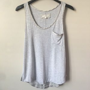 Anthropologie Pure + Good Satin Trimmed Grey Tank